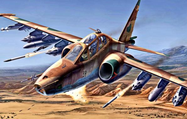 Картинка военный самолёт, Су-25, дозвуковой, учебно-боевой, Бронированный, Су-25УБК, ВВС Ирана