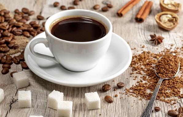 Картинка кофе, ложка, кружка, сахар, кофейные зёрна