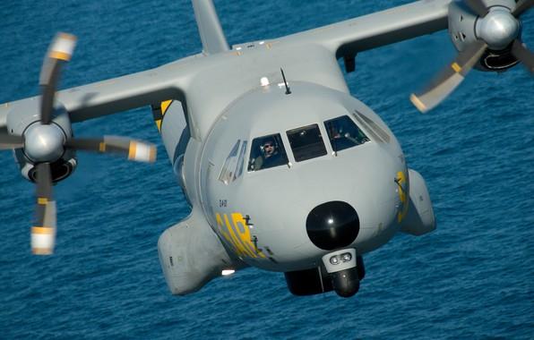 Картинка вода, полёт, военно-транспортный самолёт, Spanish Air Force, Airbus CN-235 T.19/D4 Ala 48, Военно-воздушные силы Испании, …