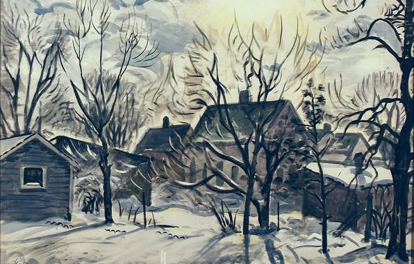 Картинка 1947, Charles Ephraim Burchfield, Winter Sun and Backyards