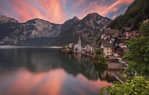 Картинка пейзаж, горы, природа, город, озеро, отражение, рассвет, дома, утро, Австрия, Альпы, Hallstatt, Гальштат, Халльштатт, община, …