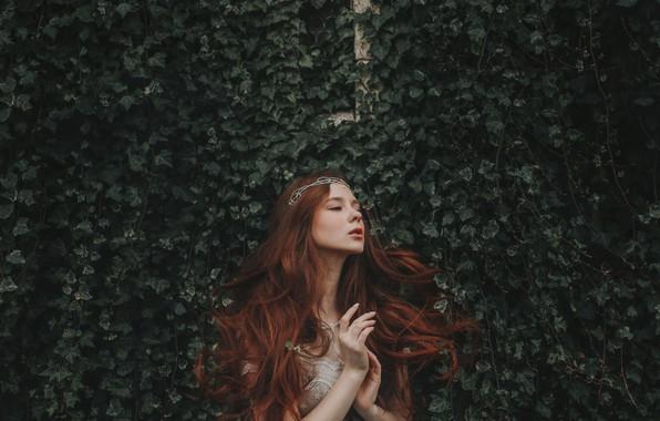 Картинка девушка, руки, рыжая, диадема, принцесса, рыжеволосая, длинные волосы, плющ, Adam Bird, Александра Гирская, Aleksandra Girskaya, …