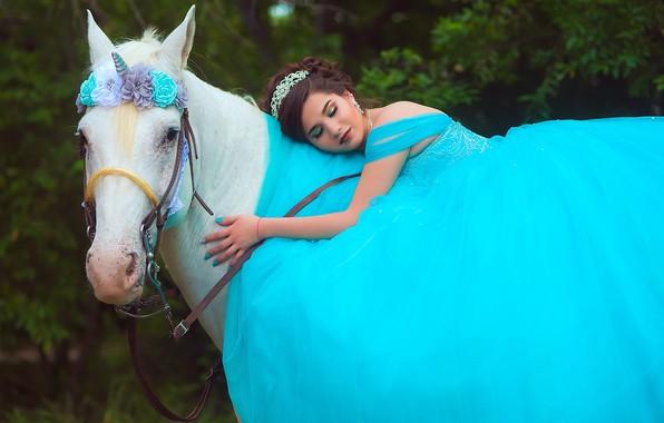 Картинка белый, лето, взгляд, морда, девушка, цветы, лицо, поза, парк, настроение, конь, голубое, романтика, листва, лошадь, ...