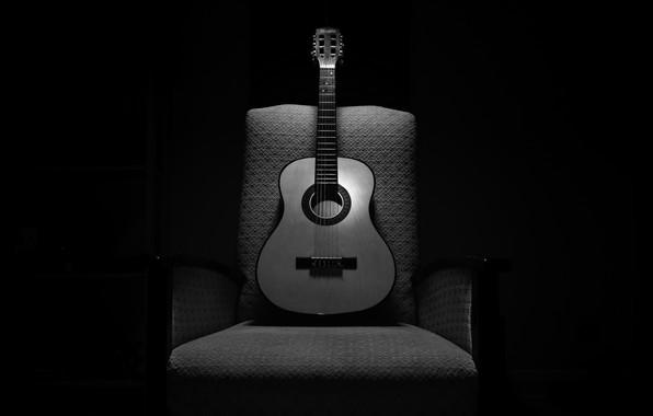 Картинка музыка, гитара, кресло