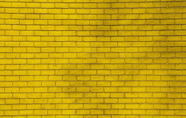 Картинка жёлтый, стена, краска, wall, кирпичи, yellow, bricks, paint