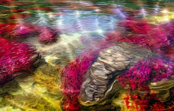 Картинка лето, вода, ручей, арт, Nina Vels, Ruby bay