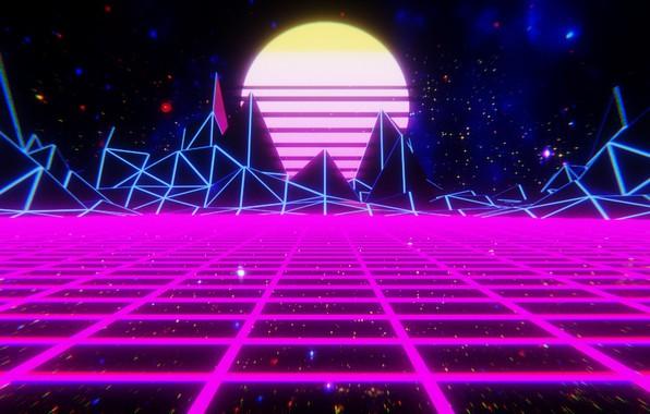 Картинка Солнце, Горы, Музыка, Космос, Звезда, Фон, 80s, Neon, 80's, Synth, Retrowave, Synthwave, New Retro Wave, …