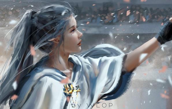Картинка girl, fantasy, long hair, blue eyes, ponytail, people, lips, face, elf, digital art, artwork, princess, …
