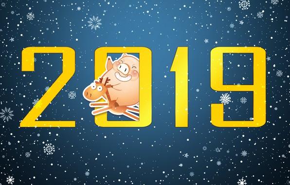 Картинка Минимализм, Свинья, Снег, Рождество, Олень, Снежинки, Фон, Новый год, Праздник, Арт, Christmas, Art, Настроение, Snow, …