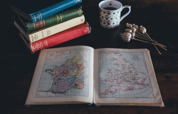 Картинка wallpaper, macro, cup, map, drink, books, 4k uhd background, poppy seeds
