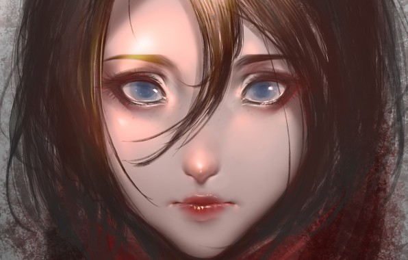 Картинка лицо, брюнетка, голубые глаза, art, челка, портрет девушки, Kaine, Culu