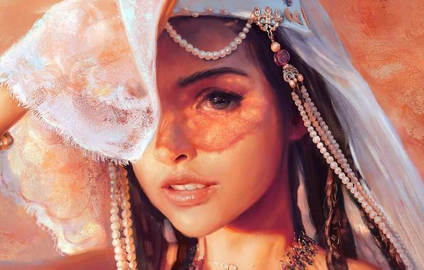 Картинка взгляд, девушка, рисунок, Mandy Jurgens
