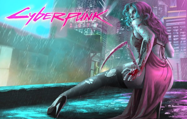 Картинка Девушка, Город, Игра, Дождь, Арт, Киборг, CD Projekt RED, Cyberpunk 2077, Киберпанк, Cyberpunk, Киберпанк 2077, ...