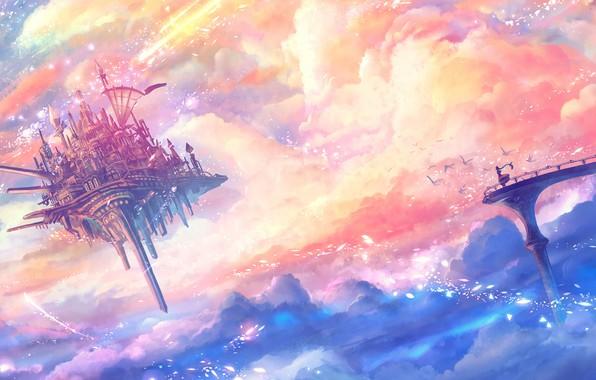 Обои girl, fantasy, sky, bridge, clouds, birds, Castle, digital art, artwork, fantasy art, floating castle