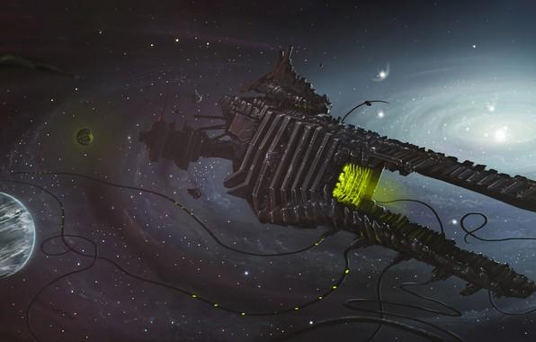 Картинка Звезды, Планета, Космос, Туманность, Корабль, Fantasy, Stars, Art, Космический Корабль, Спутник, Planet, Фантастика, Nebula, Spaceship, …