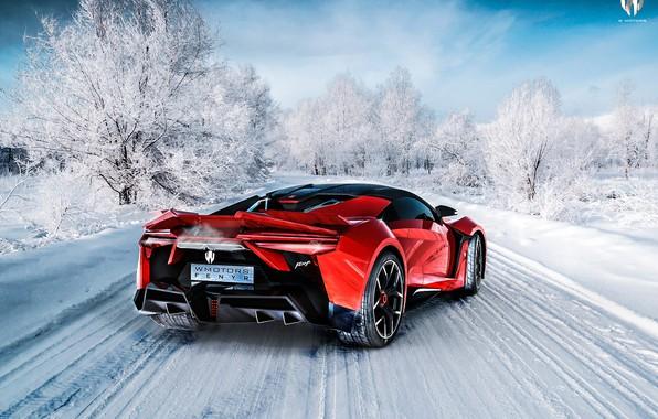Фото обои Красный, Зима, Авто, Снег, Рендеринг, Supercar, Concept Art, Спорткар, SuperSport, Transport & Vehicles, Benoit Fraylon, ...