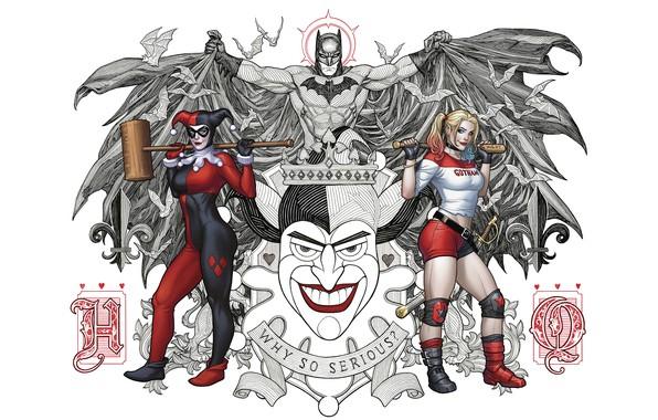 Картинка Карты, Улыбка, Джокер, Бэтмен, Костюм, Герой, Молот, Плащ, Супергерой, Hero, Арт, Art, Batman, Smile, Joker, …