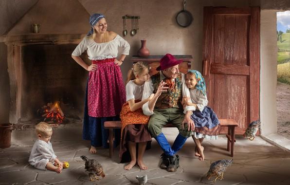 Картинка дети, дом, люди, дед, мать, куры, Dmitry Usanin, Дмитрий Усанин