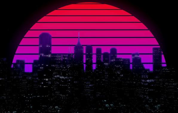 Картинка Солнце, Ночь, Музыка, Город, Звезда, Здания, Фон, 80s, Neon, 80's, Synth, Retrowave, Synthwave, New Retro ...
