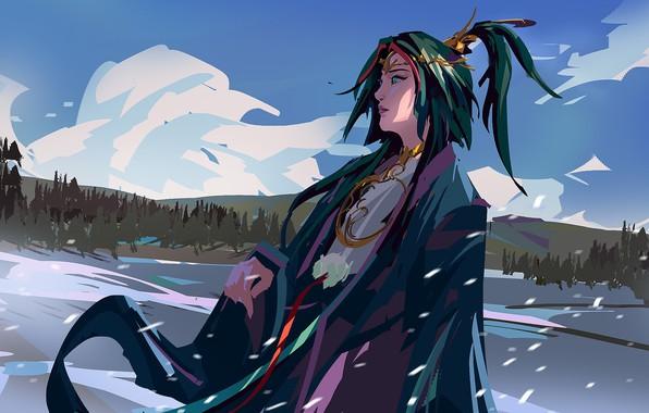 Картинка зима, снег, украшения, жрица, длинные волосы, японская одежда, голубое небо, амулеты, снежное поле, лесистые холмы, …