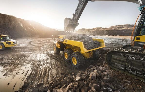 Картинка камни, Volvo, экскаватор, грунт, карьер, самосвал, погрузка, карьерный самосвал, Volvo A60H, большой грузовик