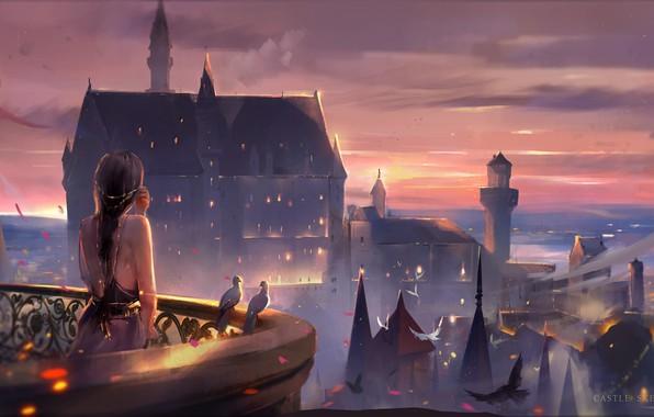 Картинка небо, девушка, замок, вечер, голуби, башни, балкон, длинные волосы, шпили, art, свет в окнах, со …