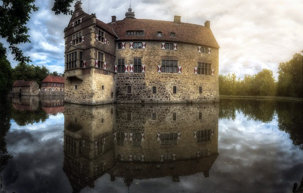 Картинка Castle, Reflections, Burg Lüdinghausen