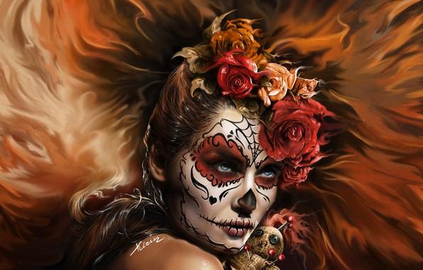 Картинка взгляд, девушка, цветы, лицо, арт, день мертвых