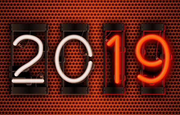 Картинка сетка, лампа, цифры, Новый год, 2019