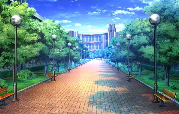 Картинка небо, дерево, Парк, Аниме, сквер