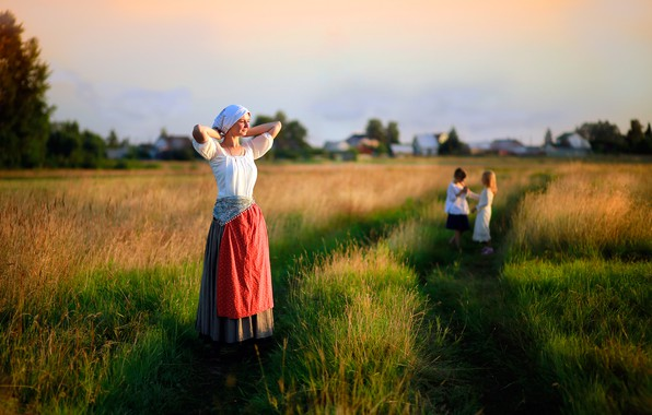 Картинка поле, трава, девушка, солнце, дети, детство