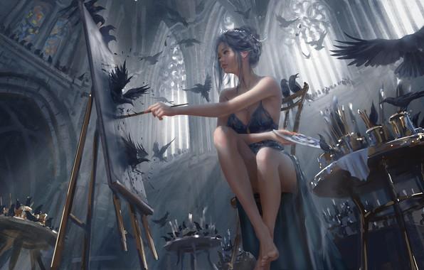 Картинка colors, girl, fantasy, legs, barefoot, birds, painting, brunette, elf, digital art, artwork, fantasy art, feet, …
