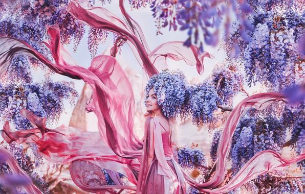Картинка девушка, цветы, стиль, настроение, платье, глициния, вистерия, Кристина Макеева