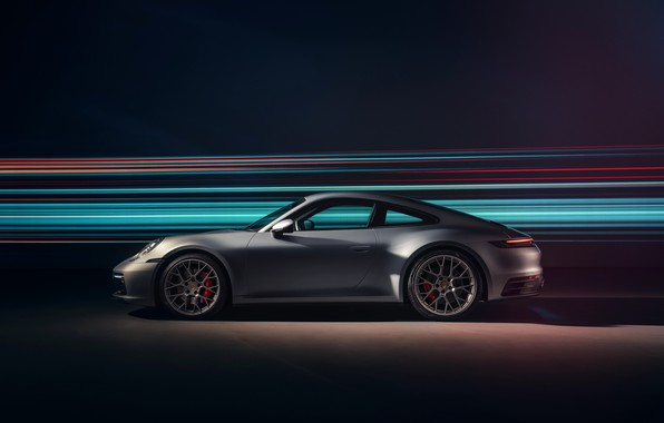 Картинка 911, Porsche, вид сбоку, Carrera 4S, 2019