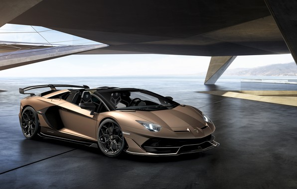 Картинка машина, свет, фары, Lamborghini, спорткар, диски, roadster, Aventador, SVJ