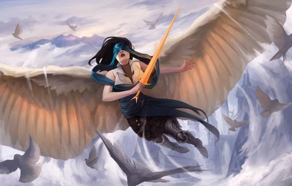Картинка girl, sword, fantasy, wings, birds, Angel, castle, artwork, fantasy art, doves, fantasy girl, blindfolded