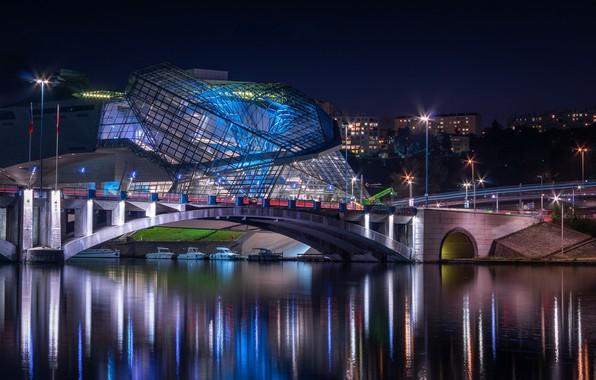 Картинка ночь, огни, Франция, Лион, Музей слияния