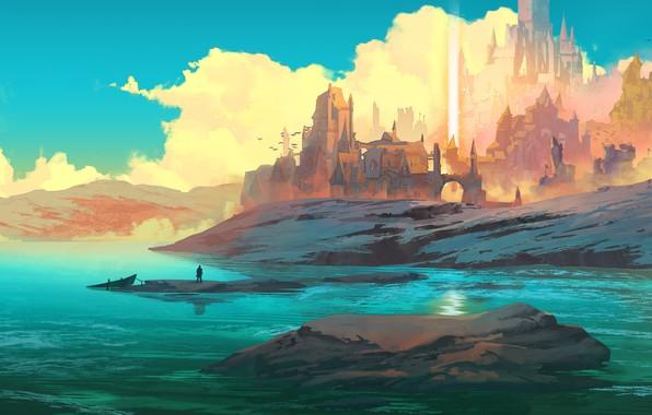 Картинка fantasy, sky, figure, clouds, lake, birds, hills, Castle, digital art, artwork, boat, fantasy art, towers, …