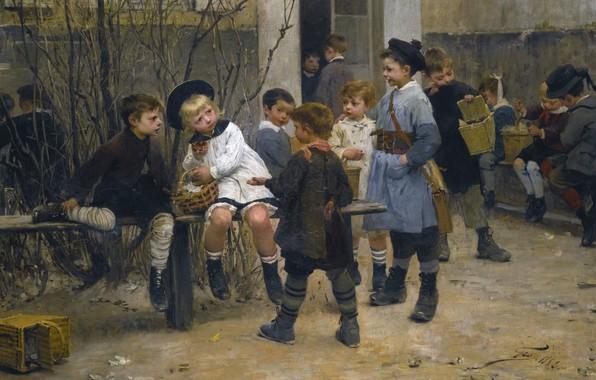 Картинка 1882, French painter, Henry Jules Jean Geoffroy, L'heure du gouter, Жюль Анри Жан Жоффруа, Анри …