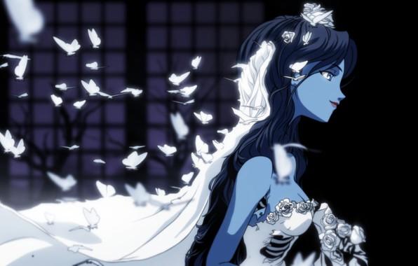 Картинка бабочки, цветы, белое, платье, арт, профиль, фата, свадебное платье, ребра, Corpse Bride, труп невесты