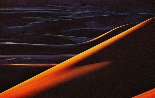 Картинка абстракция, барханы, рендеринг, пески, акрил, рисунок на холсте, репродукция работы Кристофера Беркета, Пустыня на закате