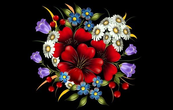 Картинка цветы, украшение, тёмный фон