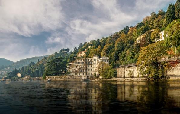 Картинка лес, солнце, облака, деревья, горы, озеро, берег, дома, Италия, Венеция, Como, Hotel Villa Flori