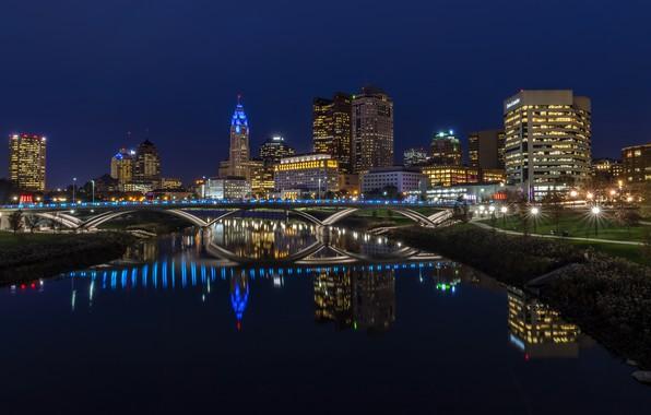 Картинка фото, Дома, Мост, Ночь, Город, Река, США, Ohio, Columbus, Уличные фонари