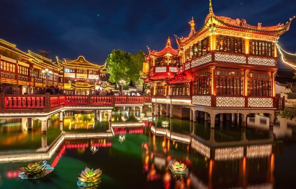 Картинка цветы, пруд, парк, отражение, China, здание, вечер, сад, Китай, Shanghai, Шанхай, архитектура, Huxingting Teahouse, Yuyuan …