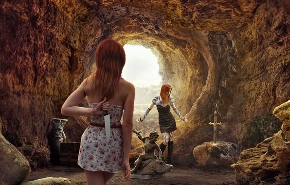 Картинка девушки, пещера, коварство, нож.