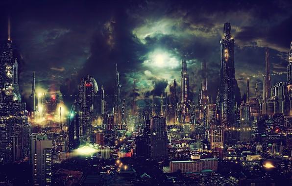 Картинка свет, ночь, city, город, lights, огни, будущее, небоскребы, future, light, night, skyscrapers