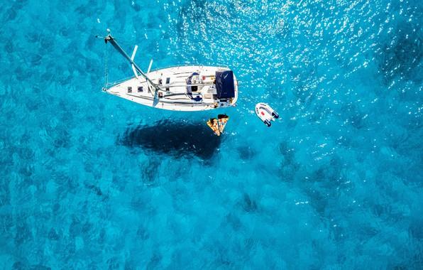 Картинка Landscape, Relax, Woman, Summer, Yacht, Sea, Man, Mood, Boat, Ship