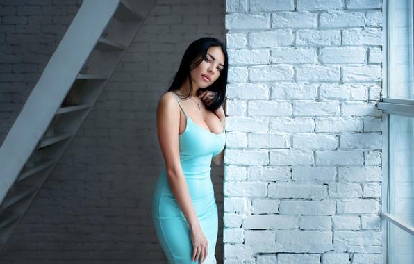 Картинка model, pretty, busty, blue dress, Подковыров Константин