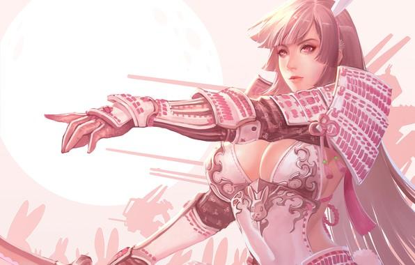 Картинка Girl, Moon, Fantasy, Sexy, Art, Face, Characters, Armor, Rabbits, Ren Wei Pan, Bunny Shogun